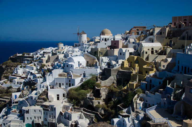 Oia,Santorini Architecture Blue City High Angle View Horizon Over Water Sea Tourism Travel Destinations Water Sunny Island