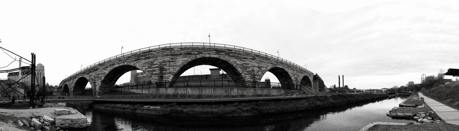 Architecture Industrial Minneapolis Minnesota Mississippi River Panorama Arch Beauty In Nature Blackandwhite Stone Arch Bridge