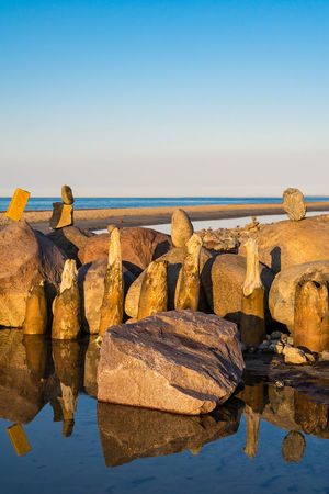 Groynes on shore of the Baltic Sea. Baltic Sea Kuehlungborn Relaxing Beach Beauty In Nature Coast Groynes Horizon Over Water Kühlungsborn Nature No People Outdoors Rock - Object Rocks Scenics Sea Shore Sky Stones Tourism Tranquil Scene Tranquility Travel Destinations Vacation Water