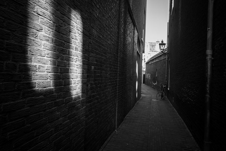 Dark alley Architecture Built Structure Building Exterior Direction City Building Wall - Building Feature The Way Forward Wall Brick Wall Brick Day Footpath Street Residential District Outdoors Narrow No People Alley