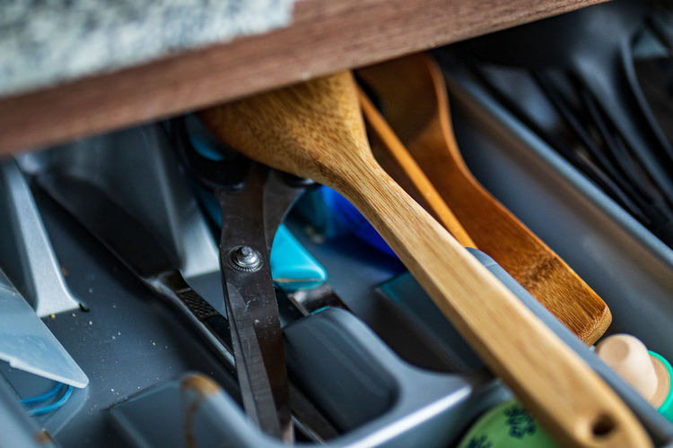 Close-up of various objects in drawer