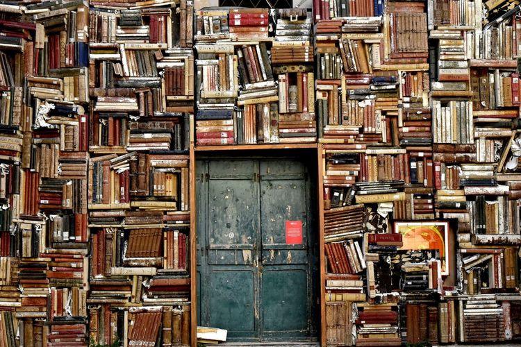 Full frame shot of old books