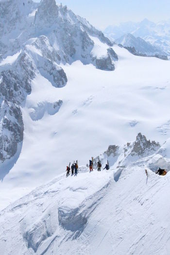 High Angle View Of People At Mont Blanc