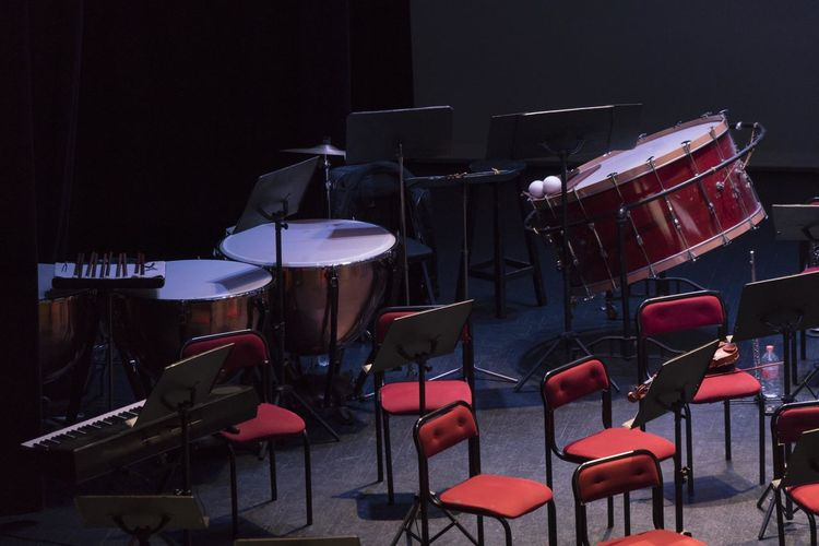 Drums and chairs in nightclub