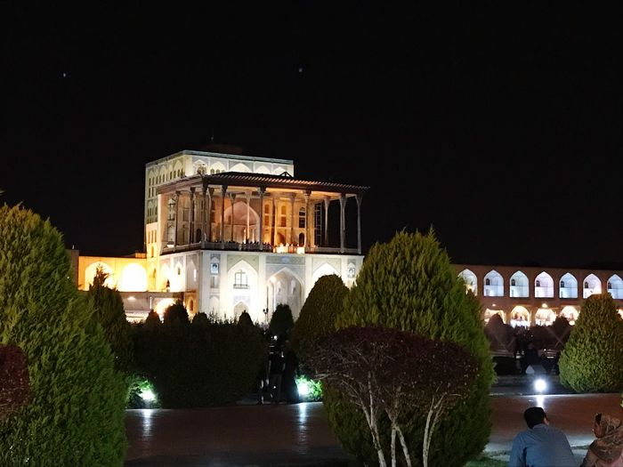 Ali Qapu (Persian: عالی قاپو, 'Ālī Qāpū) is a grand palace in Isfahan, Iran. It is located on the western side of the Naqsh e Jahan Square, opposite to Sheikh Lotfollah Mosque, and had been originally designed as a vast portal. It is forty-eight meters high and there are six floors, each accessible by a difficult spiral staircase. In the sixth floor, Music Hall, deep circular niches are found in the walls, having not only aesthetic value, but also acoustic. The Mobile Photographer - 2019 EyeEm Awards