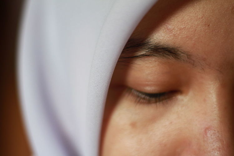 Extreme close-up of woman
