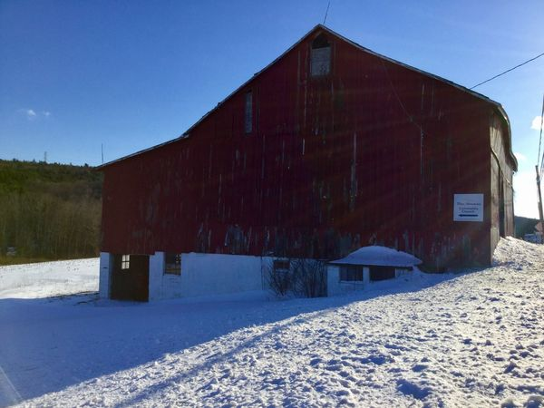 Day Cold Temperature Snow Winter No People Field Outdoors Building Exterior Built Structure Red Barn