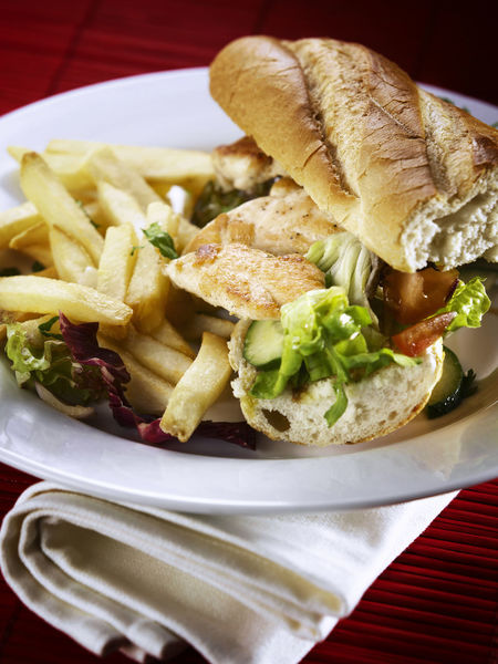 roast pork baguette on the plate ready to serve American Cucumber Herbs Lunch Meal Salad Sandwich Bread Chicken Fillet Chicken Meat Close-up Food Food And Drink French Fries Freshness Indoors  Lettuce Meat No People Plate Ready-to-eat Serving Size Snack Still Life Vegetable