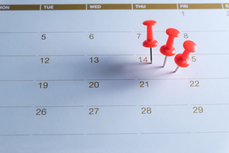 High angle view of thumbtack on calendar