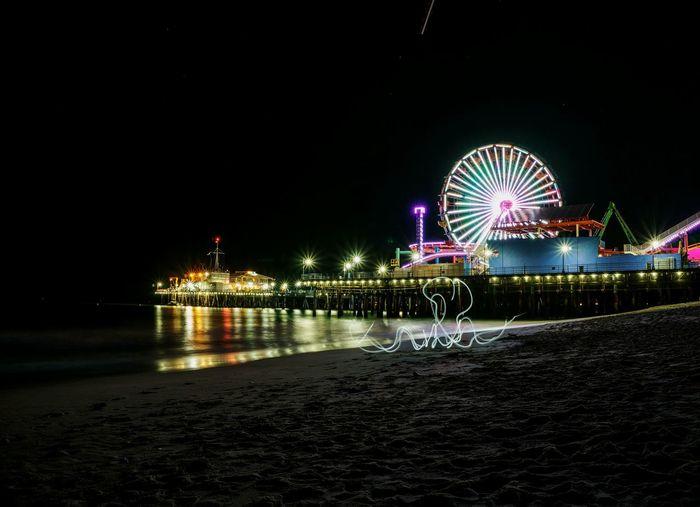 Ferris Wheel By Santa Monica Pier At Night