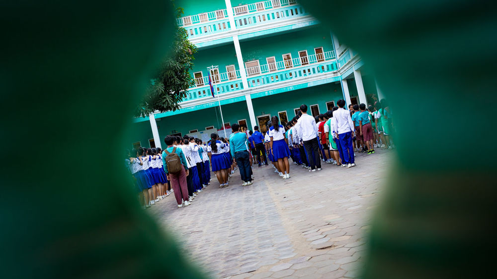School in a row Appeal Boys Cambodia Ceremony City Life Citylife Drill Girls In A Row Kids Morning Multi Colored Phnom Penh Phnompenh Pupil School School Life  School Time  School Uniforms Around The World Selective Focus Student Students Students Life Teenager Yard