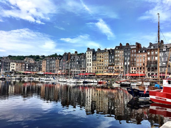 Honfleur in the June sunshine Harbour Honfleur France Normandie Boats Sunshine Reflection First Eyeem Photo