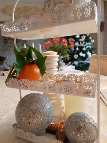 Mandarin with Green Leaves, Biscuits and Silver Balls on White Decor-Shelf ..... Yummy Biscuits Cookies Selfmade Food Mouthwatering Decorative étagère Freshness Fresh Mandarin EyeEm Selects No Edit/no Filter Lecker Mandarin Oranges Mandarine White Etagere In A Shelf Food Stories