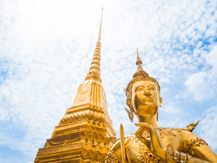 43 Golden Moments Golden Angel of War Protection Gold Wat Temple Pagoda Bangkok Blue Sky Travel Tourism Showcase July