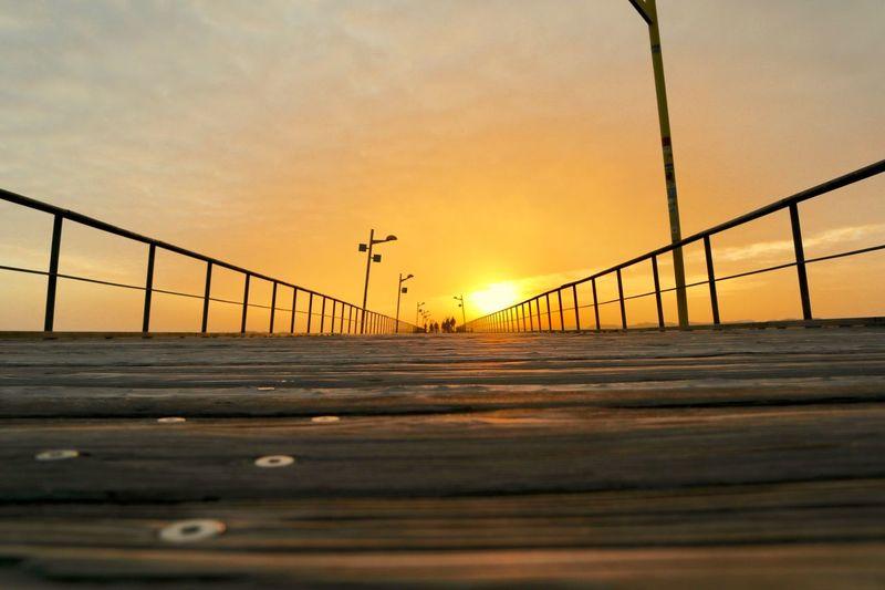 Sunset Sky Orange Color Bridge Nature Transportation Architecture