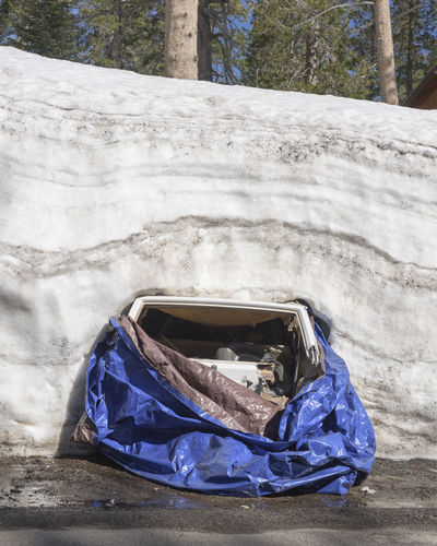 Crushed cars trapped by the 216-17 winter snows along Donner Summit Road near Donner Pass, California. California Cars Crushed Crushed Cars Damaged Day Donner Pass Nature No People Outdoors Snow Snow Bank Winter