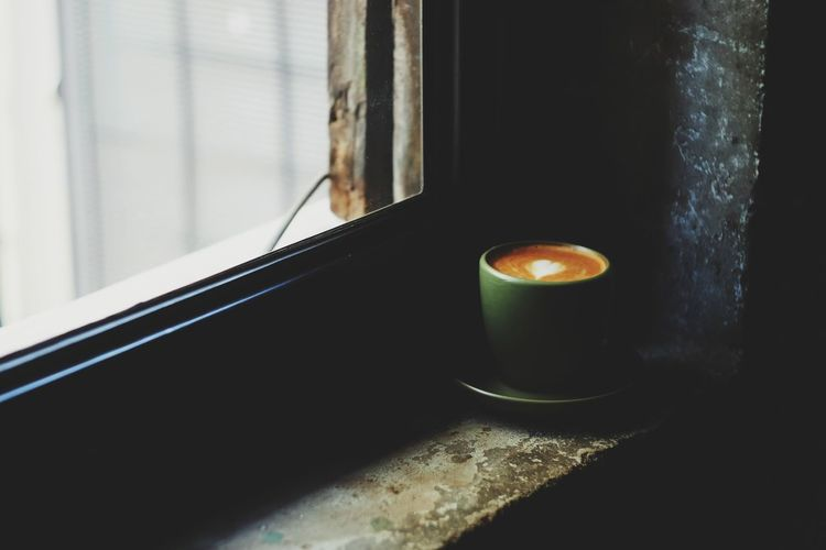 Cup of hot coffee near window Fresh Shop Still Life Coffee Cup Morning Coffee Cafe Relax Business Break Breakfast Aroma Caffeine Beverage Barista Drink Refreshment Cream Latte Cappuccino Latte Art Hot Hot Drink Sugar Cocoa