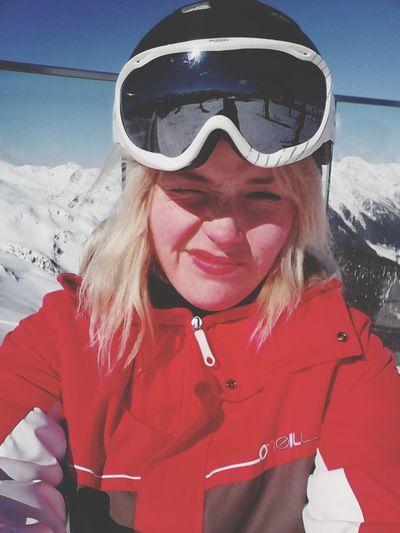 Silian Austria Mountains Sunny Girl Skiing Blonde Happy