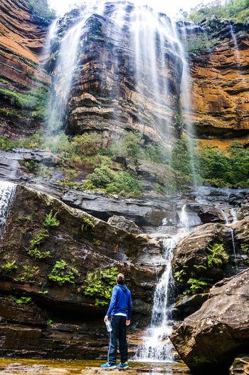 Man Looking At Katoomba Falls Against Sky