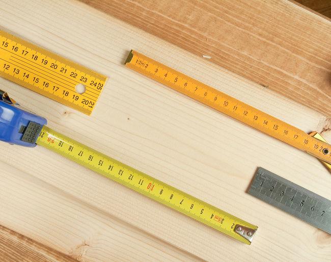 Instrument of measurement on workbench at workshop