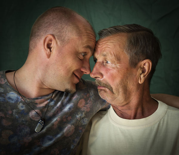 Affectionate Bonding Close-up Couple - Relationship Happiness Headshot Indoors  Lifestyles Love Mature Adult Mature Couple Mature Men Men Night People Real People Romance Togetherness Two People
