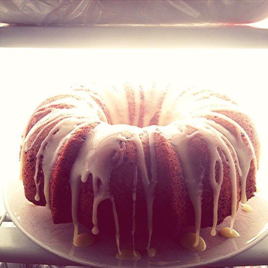 lemon pound bundt cake with lemon glaze cooling in the fridge #cake #fornoreason