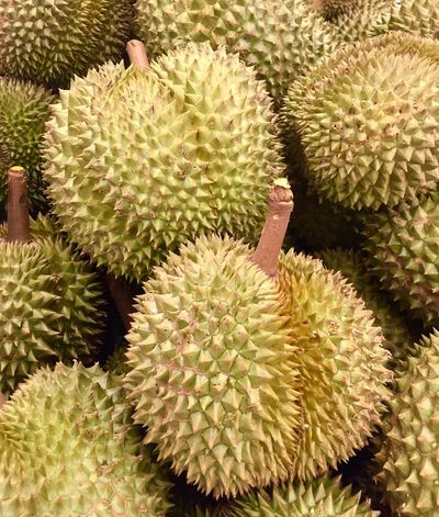 Thorn Durian Durian Fruit Fruit Yellow Fruit Growth Plant Nature Green Color No People Full Frame Close-up Outdoors Backgrounds Freshness Arid Climate Beauty In Nature Food Day