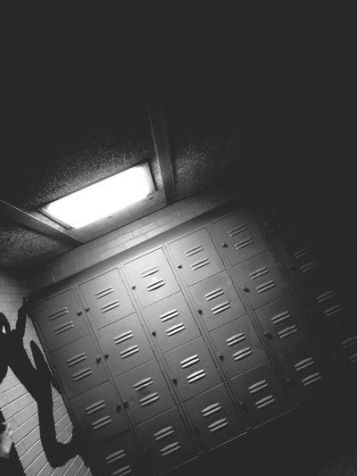 High School Lockers Black And White Shadow Dark Light Hitting