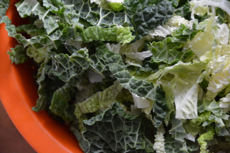 High Angle View Of Leaf Vegetables In Bowl