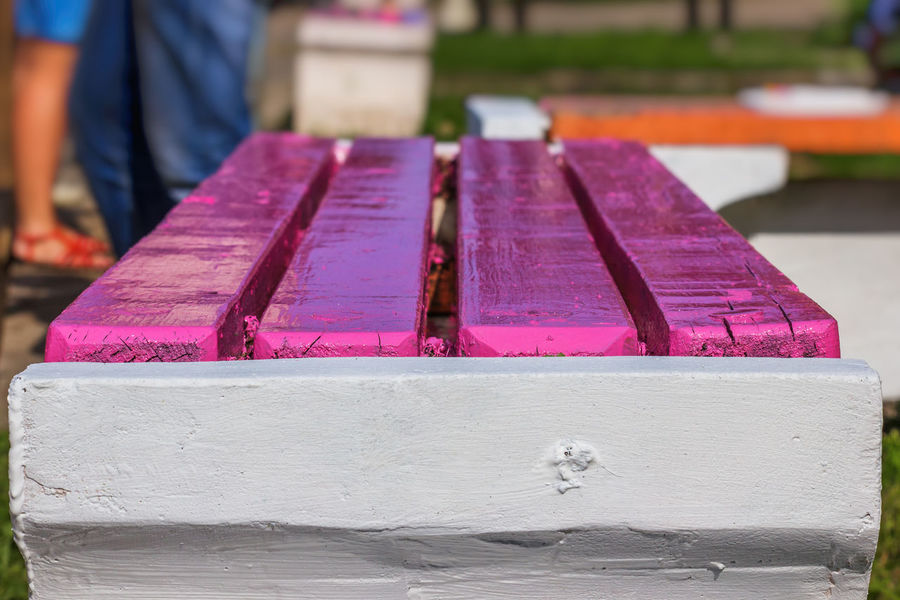 Freshly painted bench closeup Bench Close-up Day Outdoors Painted People Pink Color Wood