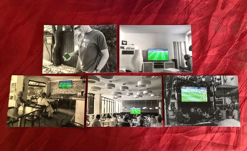 5 different places watching soccer Colourkey Soccer WM2018 No People Technology Indoors  Red Close-up Still Life Love The Game Television Set Colourkey Soccer WM2018 No People Technology Indoors  Red Close-up Still Life Love The Game Television Set