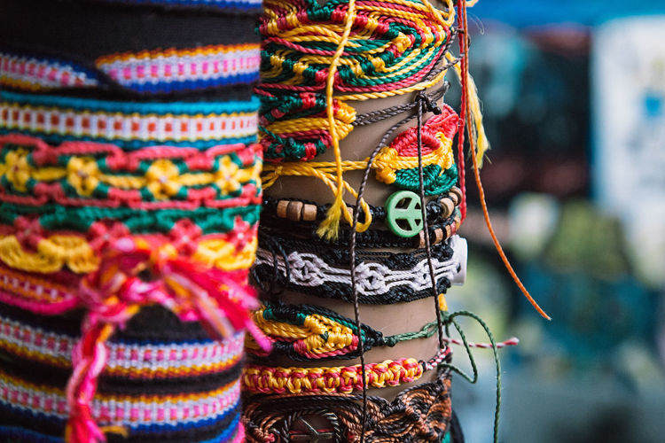 Colorful handmade bracelets Fashion Accessories Acessories Branch Close-up Colors Cultures Day Fashion Market Multi Colored Outdoors
