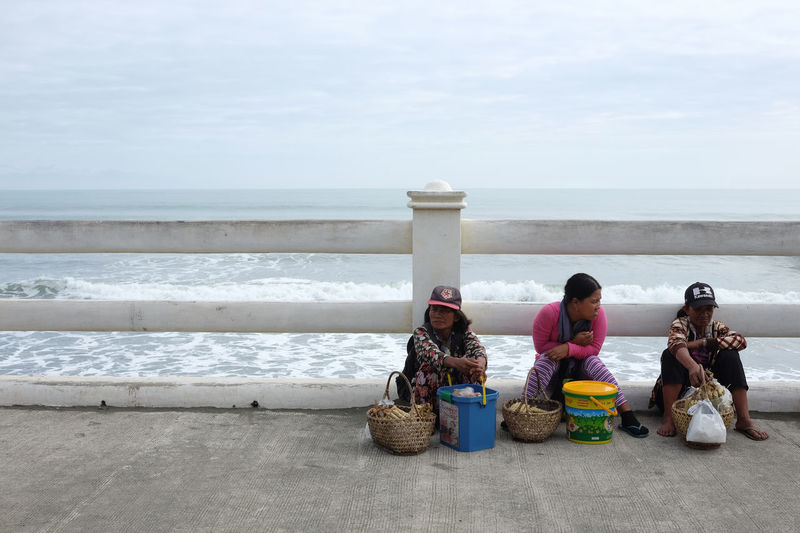 Beach Countryside Nature People Rural Sea Seller Selling Sitting Street Tired Vendor Women Worker Working Hard