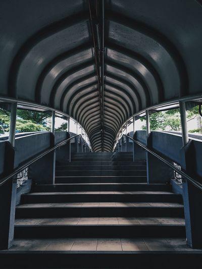 Interior of empty railway bridge