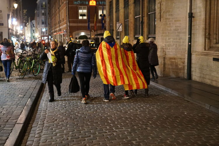 Catalan independence flag waving during a demonstration in the streets of Brussels Barcelona Catalan Catalogne Catalonia Catalonia Is Not Spain Catalonia, Europe's Next State Catalunya Claim Freedom Independence Spanish Banner Cataluña Crowd Demonstration Demonstrators Europe Independent  People Policy Political Politics And Government Protesting Rally Referendum