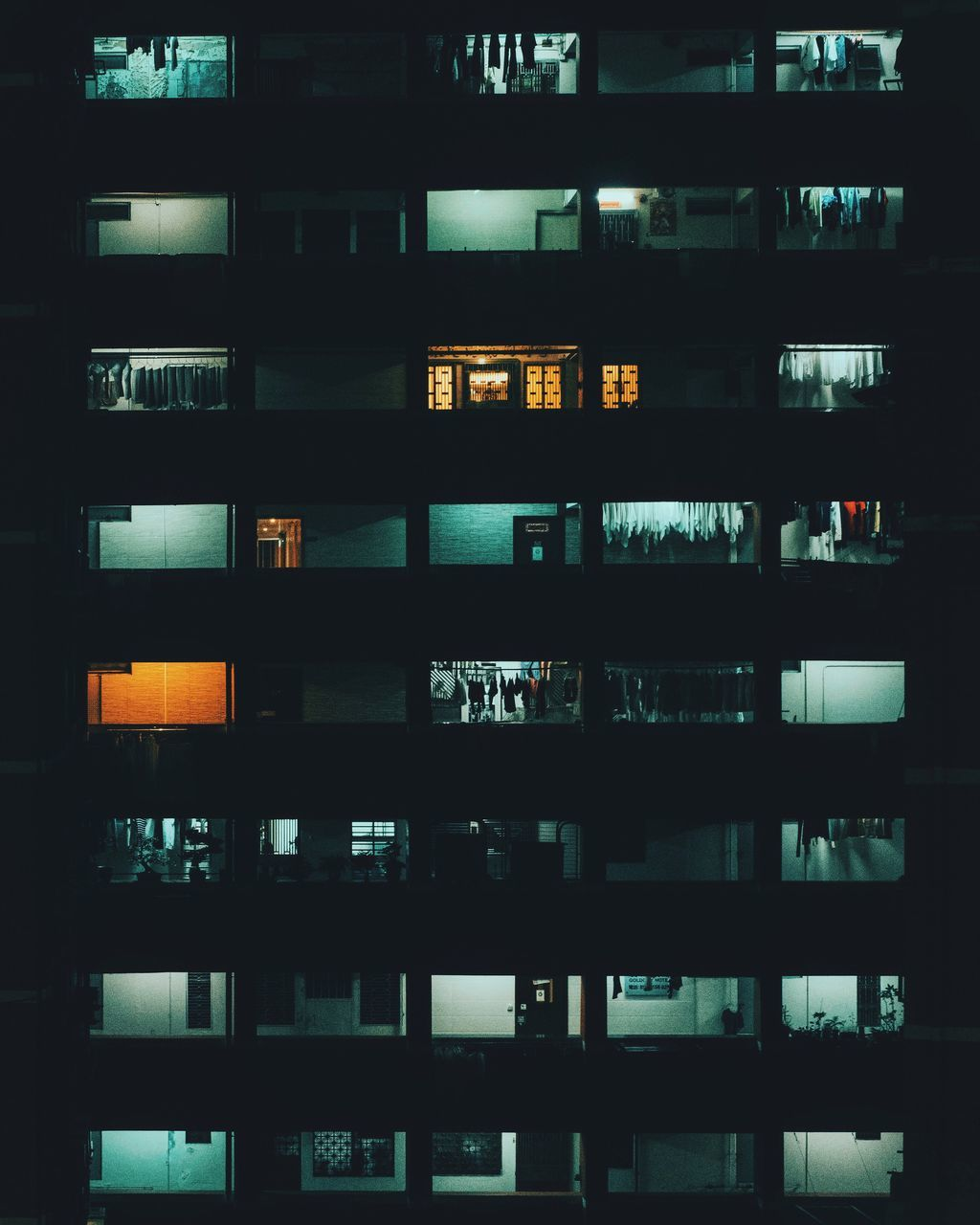 Low Angle View Of Residential Structure At Night
