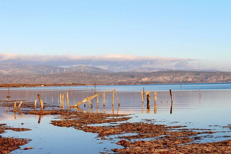 Abandoned pier at lakeshore