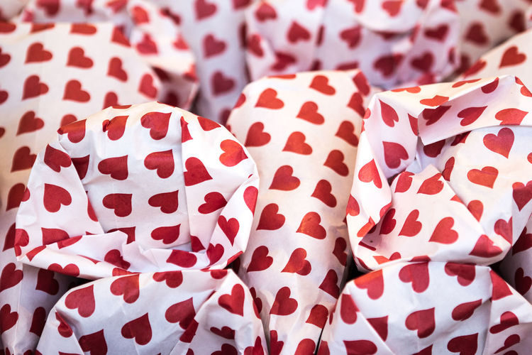 Bags Close-up Day Funfair Heart Shape No People Red Roasted Almonds Sweets