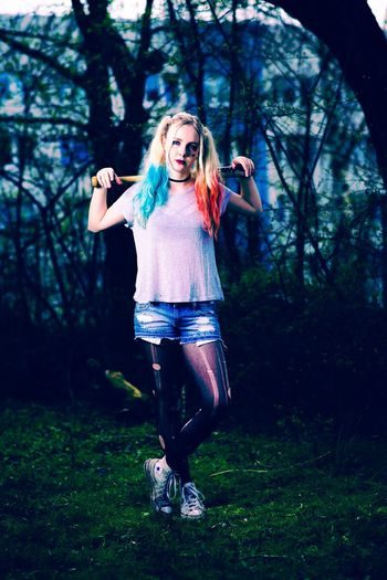 Another portrait of the last shooting. Scary girl. Portrait Eerie Scary Aggressive Girl Nature Weird Outfit Outfit Blue And Red Looking At Camera Deep Stare Baseball Bat Killer Dangerous Unpredictable Outdoors Forest One Person Unusual Women Blond Hair Tree Full Length People