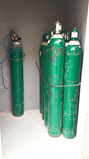 gas cylinder Work Argon Oksijen Oksigen Gas Cylinder Green Color Container No People Indoors  Metal Bottle Wall - Building Feature Cylinder