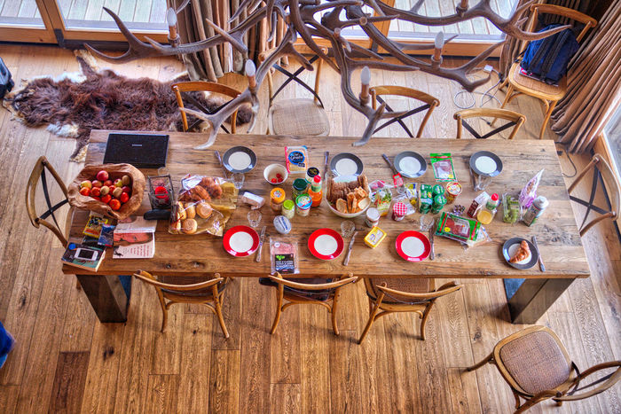 Big Table Breakfast Chalet Interior Lunch Multi Colored Table Wood - Material