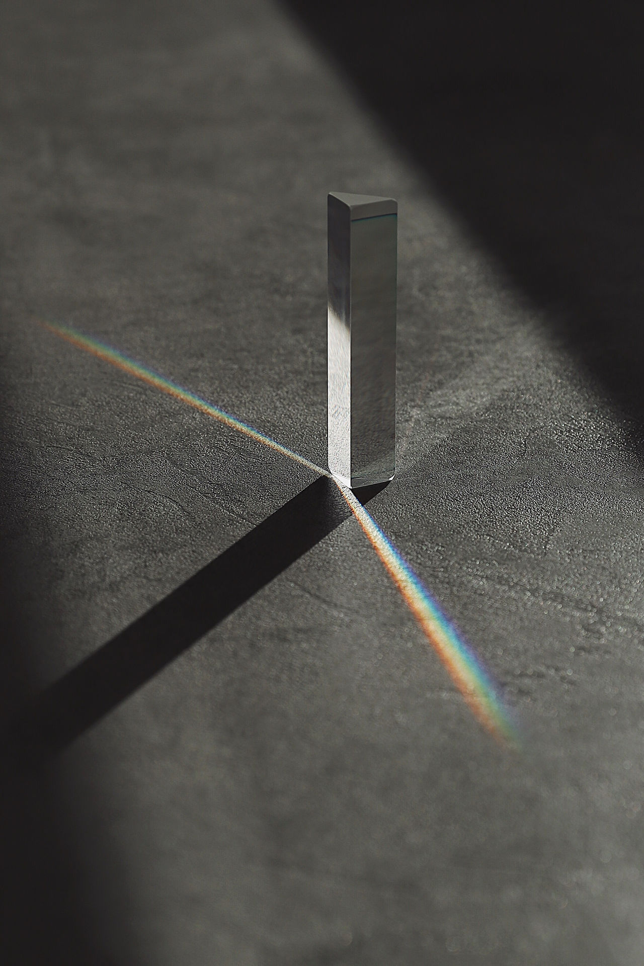 High angle view of prism on table