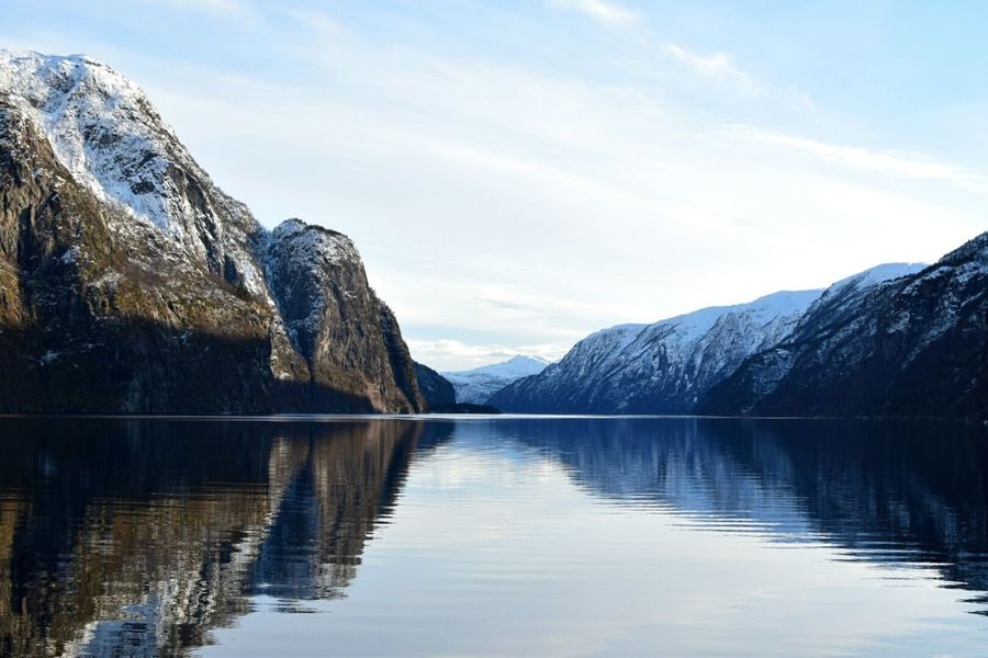Showcase March Norwegian Fjords close to Bergen. Fjord Fjords Sea Norway Boat Trip Frosty Atmosphere Snow Snowy Mountains Fjordland Norway Fjords Of Norway Stunning Scenery Tourist Boat Trip Raw Nature Icy Cold Bergen Learn & Shoot: Balancing Elements Landscapes With WhiteWall