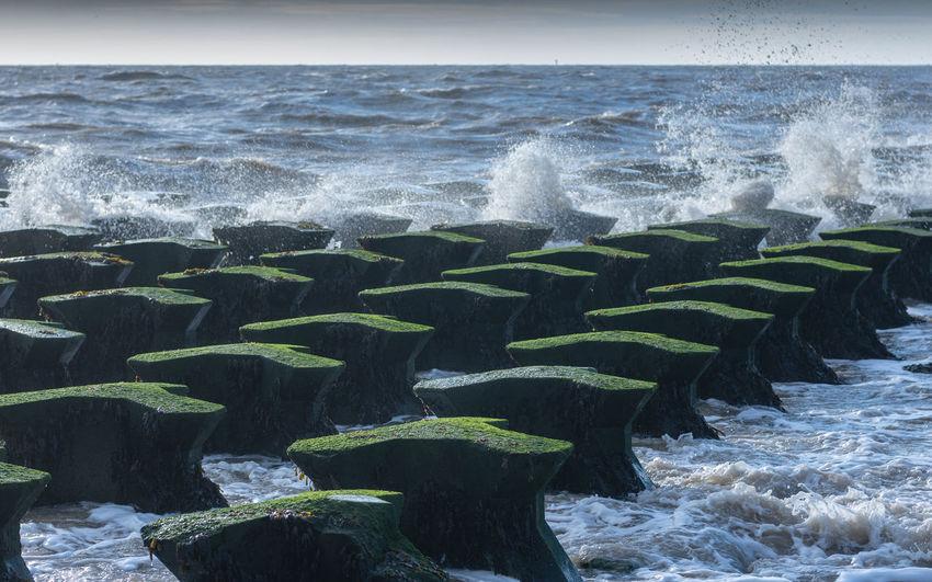 Low tide at Felixstowe beach. Sea Seascape Sea And Sky Seaside Water Motion Wave Beauty In Nature Beach Nature Splashing Groin Waves Waves Crashing Low Tide Felixstowe Felixstowe Beach