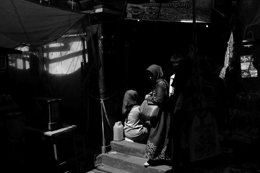 chasing harsh light in Yogyakarta Indonesia. Asian  Copy Space INDONESIA Muslim Woman Shadow And Light Shopping Traditional Market Yogyakarta Black And White Day Full Length Handbag  Harsh Light Hijab Indoors  Pasar Real People Southeast Asia Street Photography
