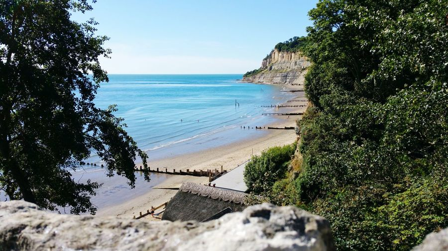 Isle Of Wight  Beachphotography Beach Sea And Sky Seascape S7Edgecamera S7edgephotography Beauty In Nature Vacations Sea Travel Destinations No People Outdoors Nature Sky Trees And Sky Water Trees
