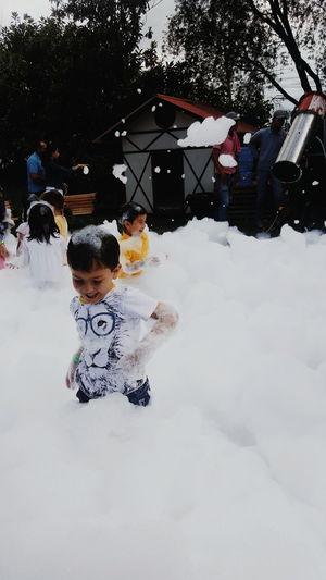 Childhood Fun Winter Child Children Only Espuma  Boys Girls People Outdoors Day Ecuador Quito