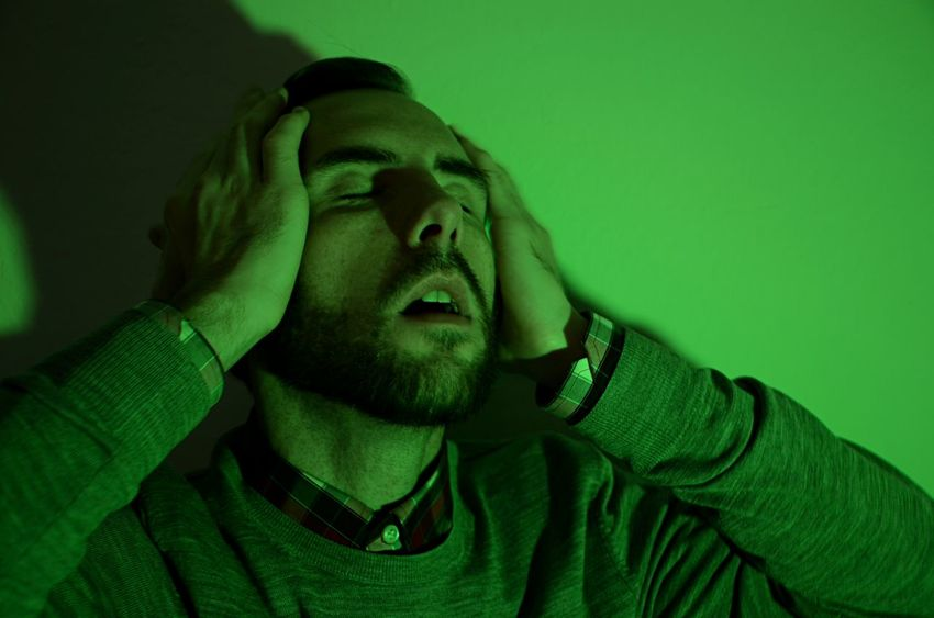 Man In Ecstasy Man Who Forgot Something Bearded Man Frustration Pleasure Portrait Shadow Strong Green Light Studio Shot This Is My Skin