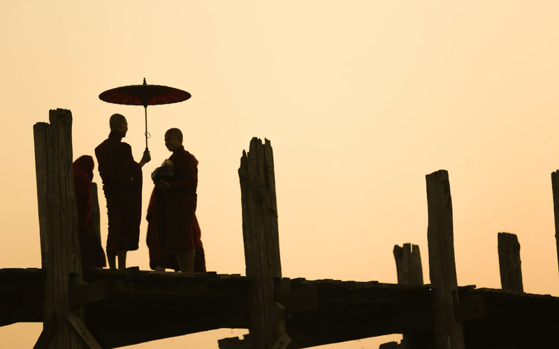 Bridge Clear Sky Myanmar Outline Scenics Silhouette Sky Wooden Post People And Places.
