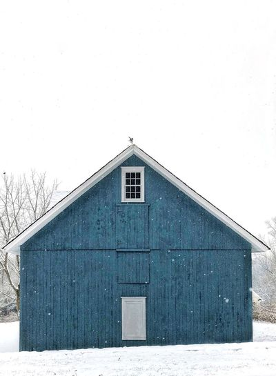 Snow Blue Barn Built Structure Building Exterior Architecture House No People Window Outdoors First Eyeem Photo
